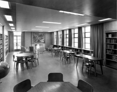 LH2967 Oshawa Public Libraries, McLaughlin Branch, 1958: Youth Reading Room
