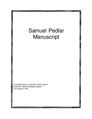 Samuel Pedlar manuscript