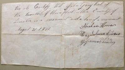 Mennonite Exemption Certificate- John Graybiel,1812
