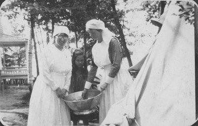 Nurses at tent at Fettercairn