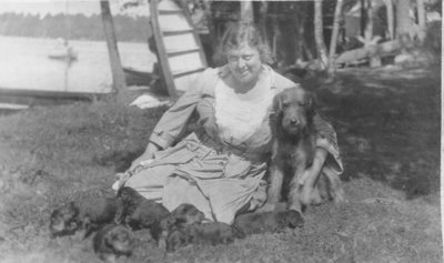 Woman with dog and puppies at Fettercairn