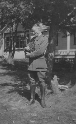 Soldier with puppy at Fettercairn