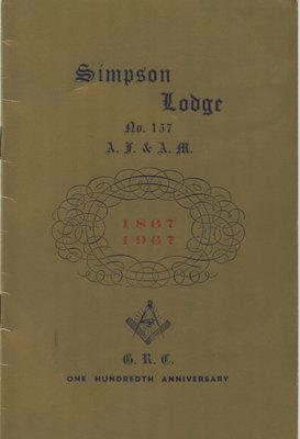 Booklet Cover: Newboro Simpson Masonic Lodge History
