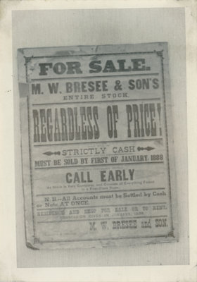 Sale sign for M.W. Bresee and Sons