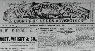 Farmersville Reporter and County of Leeds Advertiser
