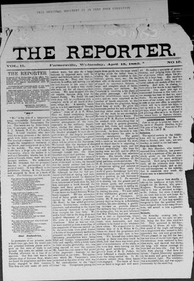 Farmersville Reporter and County of Leeds Advertiser (18840522), 15 Apr 1885