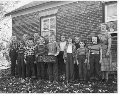 Nina Churchill and her class in 1953 at Dancy School SS#10 Elgin
