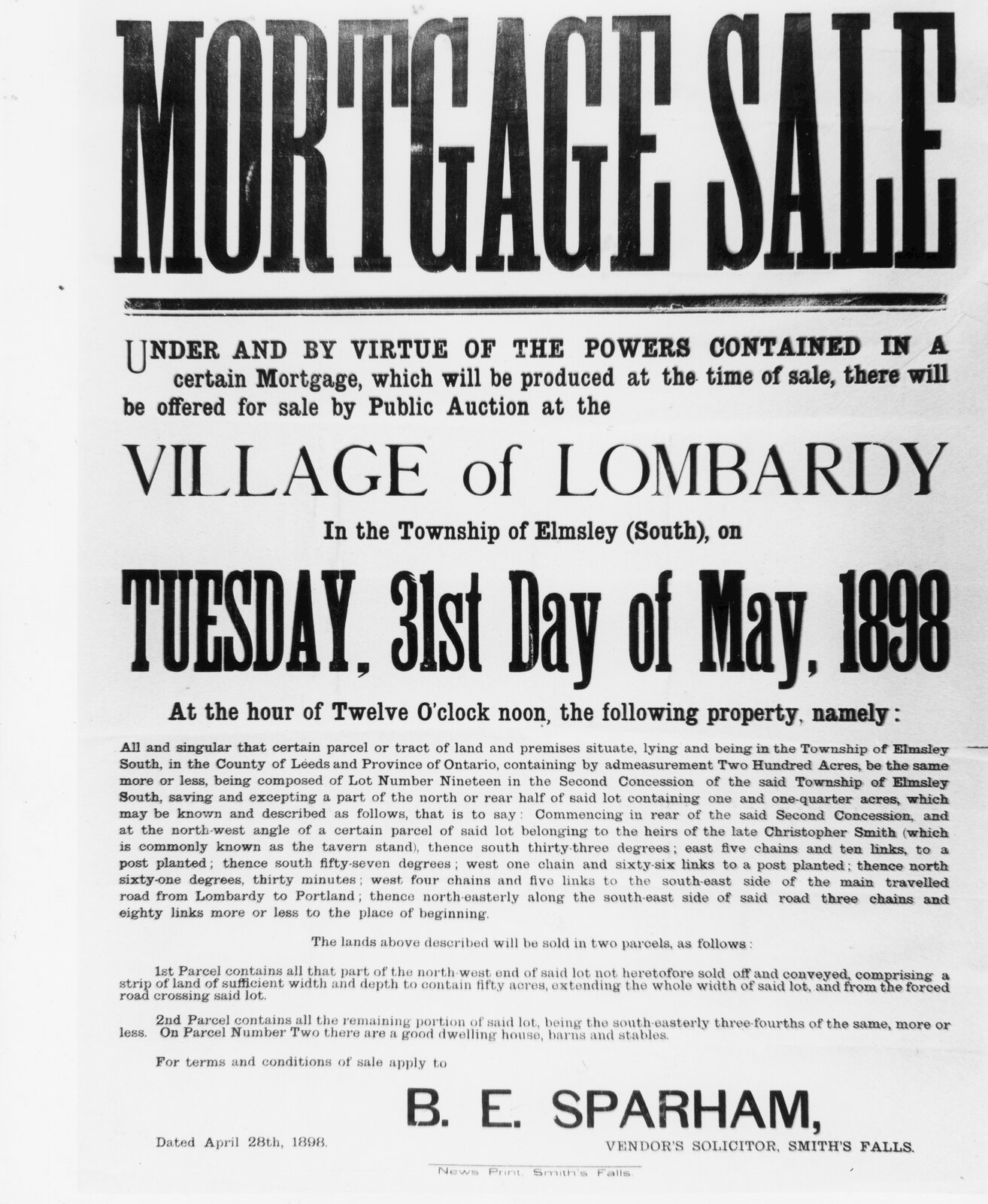 Poster for a South Elmsley mortgage sale 1898