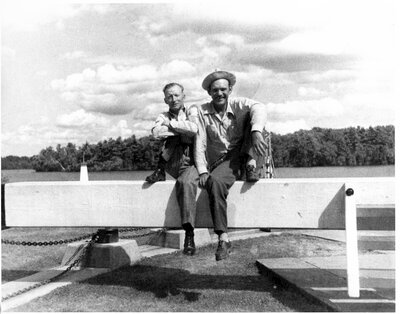 Edgar Warren and ? Knapp at Newboro Locks c.1950