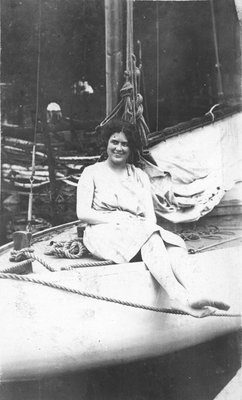 Fettercairn staff member in sailboat Indian Lake