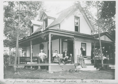 Seaman family at cottage on Lower Beverley Lake