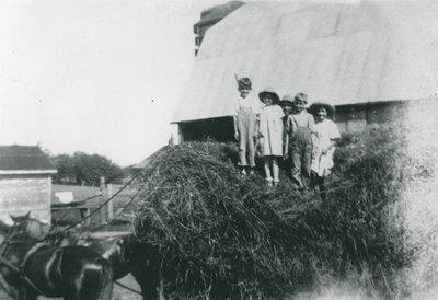 Children on Hay Wagon at the Morris Farm