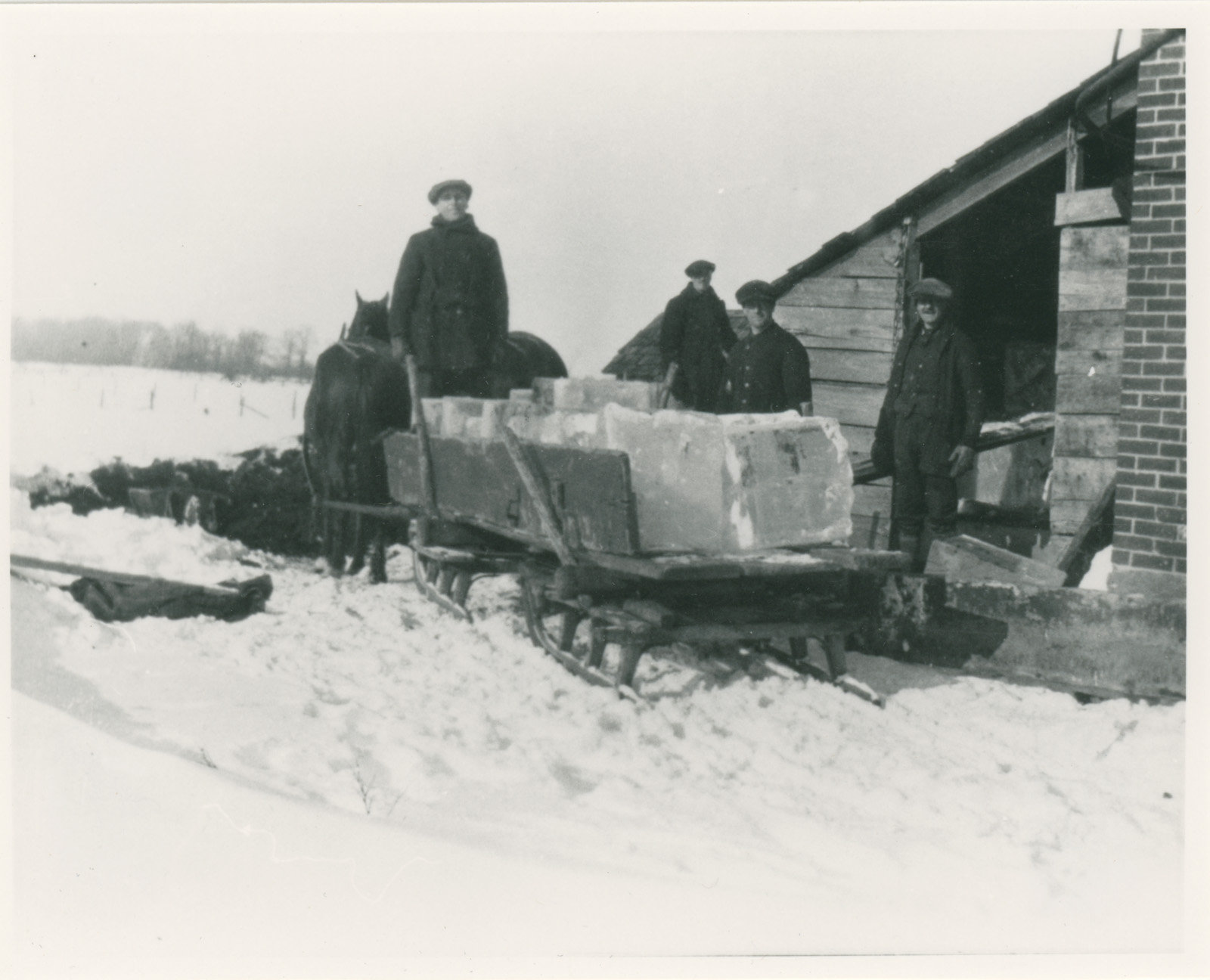 Filling the ice house at the Chantry cheese factory c.1930