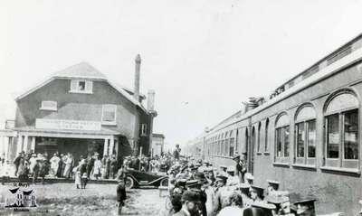 Train moving out of depot at Regina, Sask.
