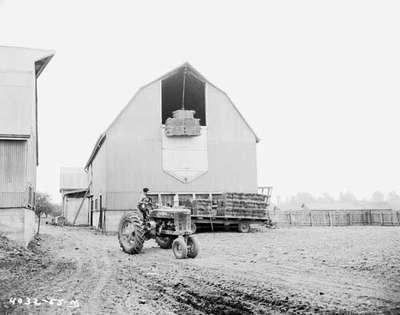 Hoisting Hay Bales into a Barn