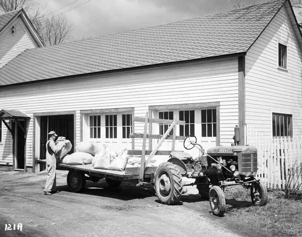 Unidentified Man Loading a Wagon Attached to a Tractor