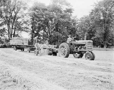 Tractor Baling Hay, Barrie, ON