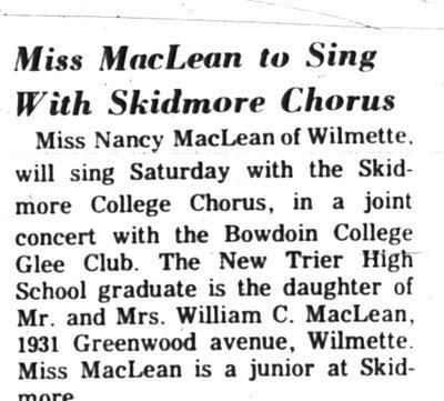 Miss MacLean to Sing with Skidmore Chorus