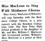 Miss MacLean to Sing with Skidmore Chorus