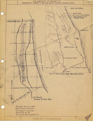 The Growth of Wilmette:  Government survey of 1818 and Map of the Area's Drainage System