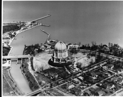 Aerial view of the Baha'i House of Worship, 1940