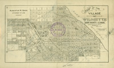 Two sided map of Wilmette by Augustus N. Gage