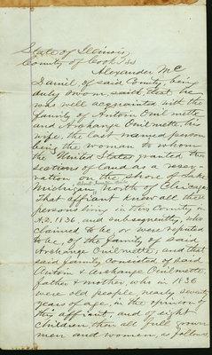 Affidavit by Alexander McDaniel, Wilmette, Illinois, July 5, 1871
