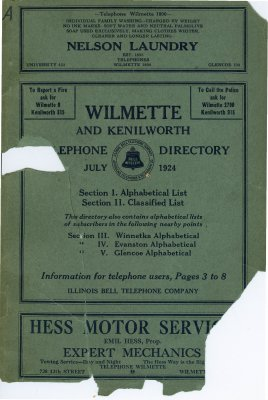 Telephone Directory for Wilmette and Kenilworth, July 1924