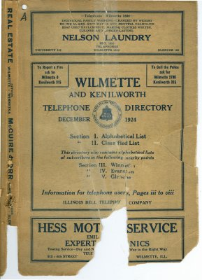 Telephone Directory for Wilmette and Kenilworth, December 1924