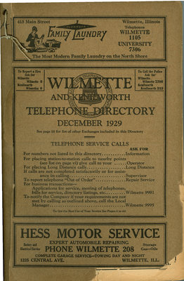 Telephone Directory for Wilmette and Kenilworth, December 1929