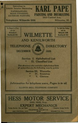 Telephone Directory for Wilmette and Kenilworth, December 1925