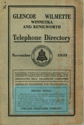 Telephone Directory for Glencoe, Wilmette, Winnetka and Kenilworth, November 1910