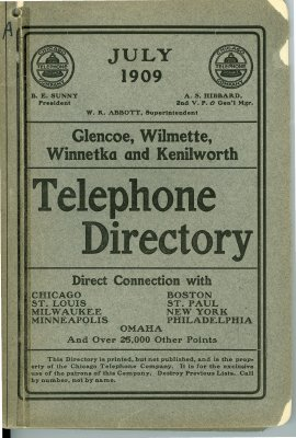 Telephone Directory for Glencoe, Wilmette, Winnetka and Kenilworth, July 1909