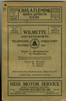 Telephone Directory for Wilmette and Kenilworth, December 1926