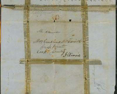 Letter from Alexander McDaniel to Emeline McDaniel August 1, 1850