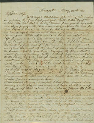Letter from Alexander McDaniel to Emeline McDaniel May 25, 1851