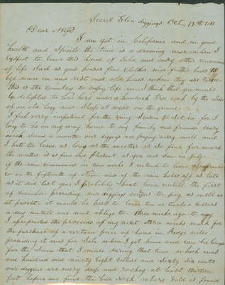 Letter from Alexander McDaniel to Emeline McDaniel October 19, 1851