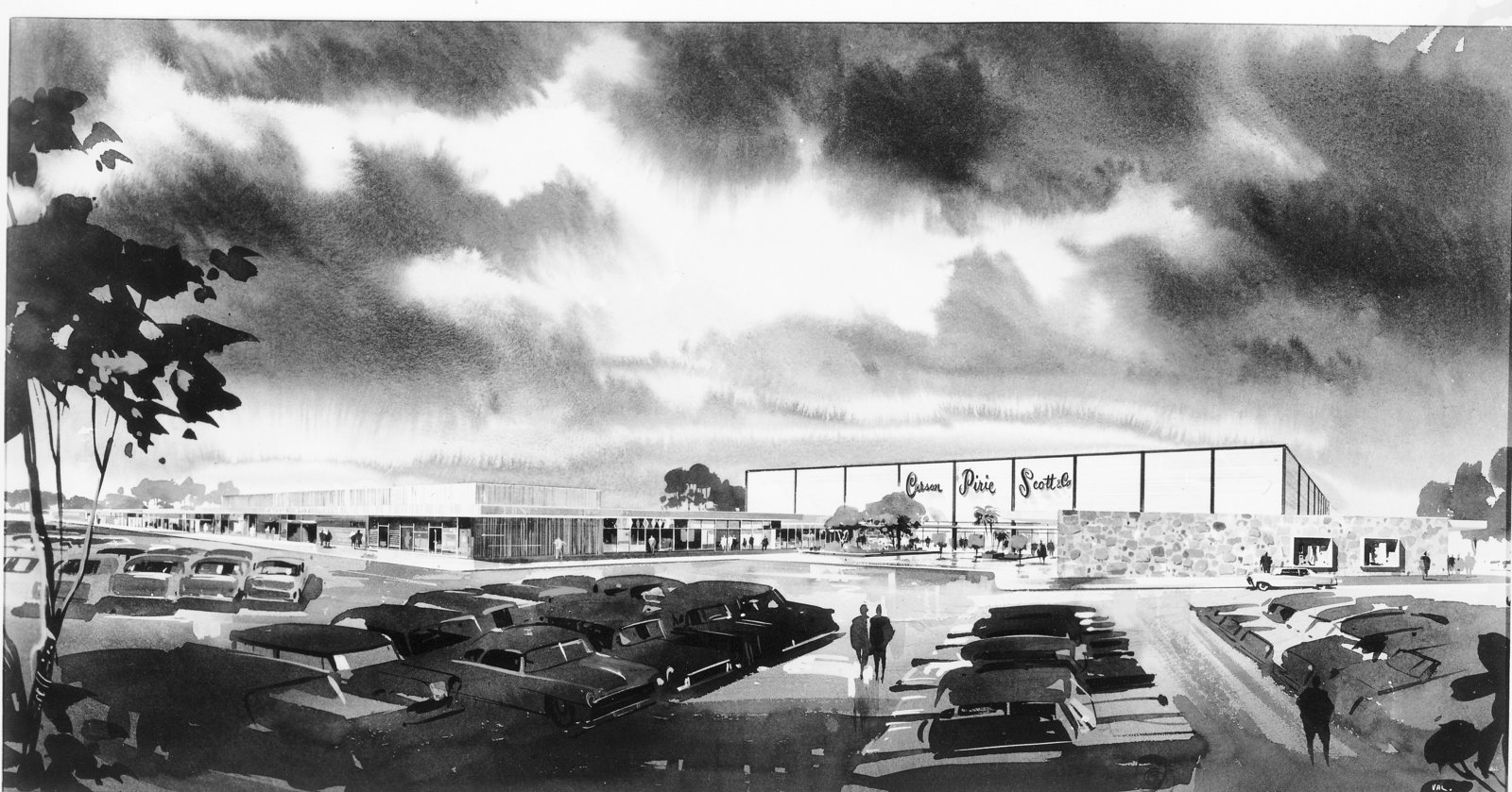 Black and white photograph of an artist's rendition of Carson Pirie Scott & Co. at Edens Plaza, Wilmette, about 1960