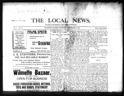 Local News, 1 Sep 1898