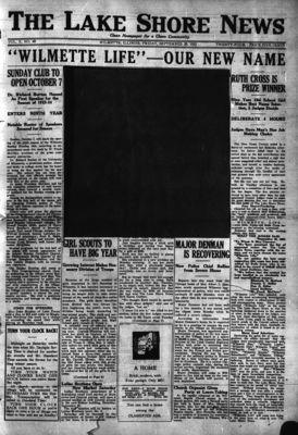 Lake Shore News (Wilmette, Illinois), 28 Sep 1923